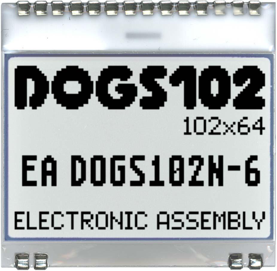 102x64 DOG Grafikdisplay, FSTN superweiss