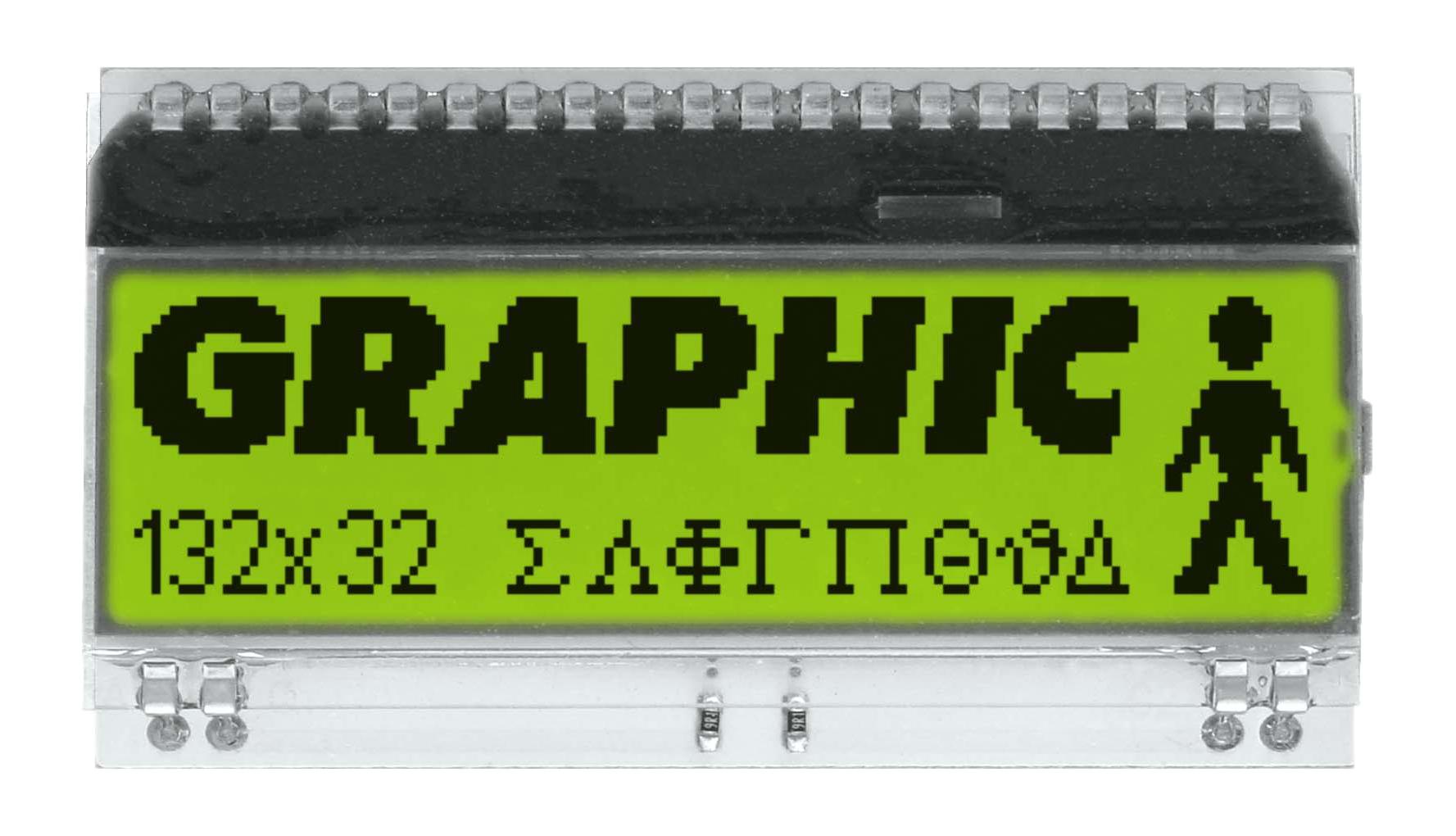 132x32 DOG Grafikdisplay, STN gelb/grün
