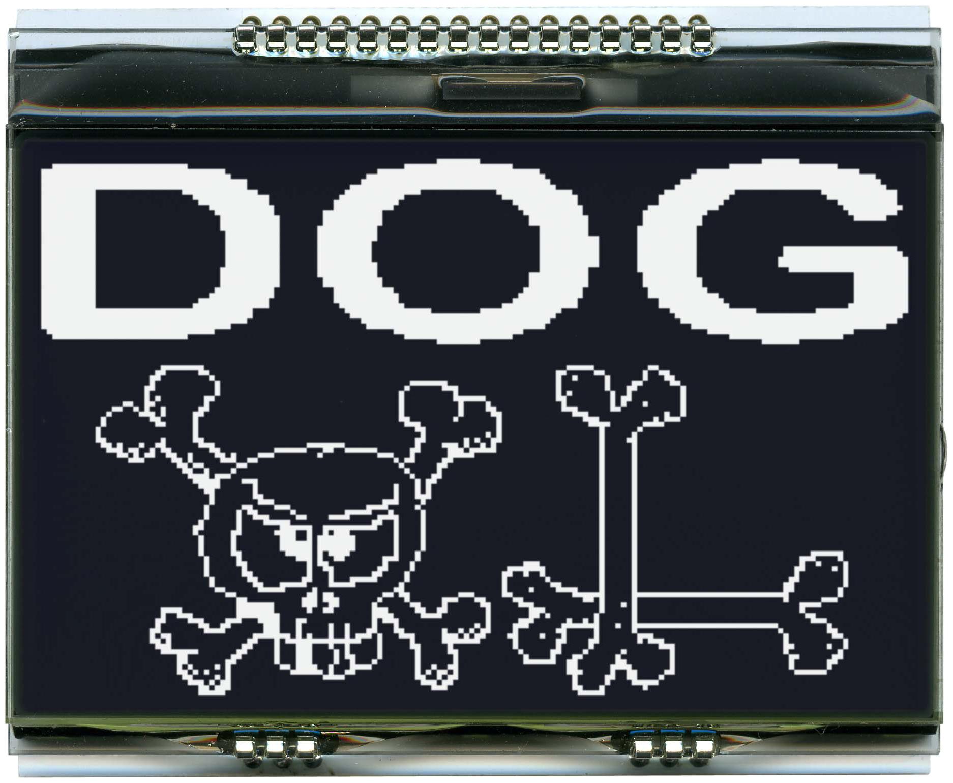 160x104 DOG Grafikdisplay, FSTN schwarz negativ
