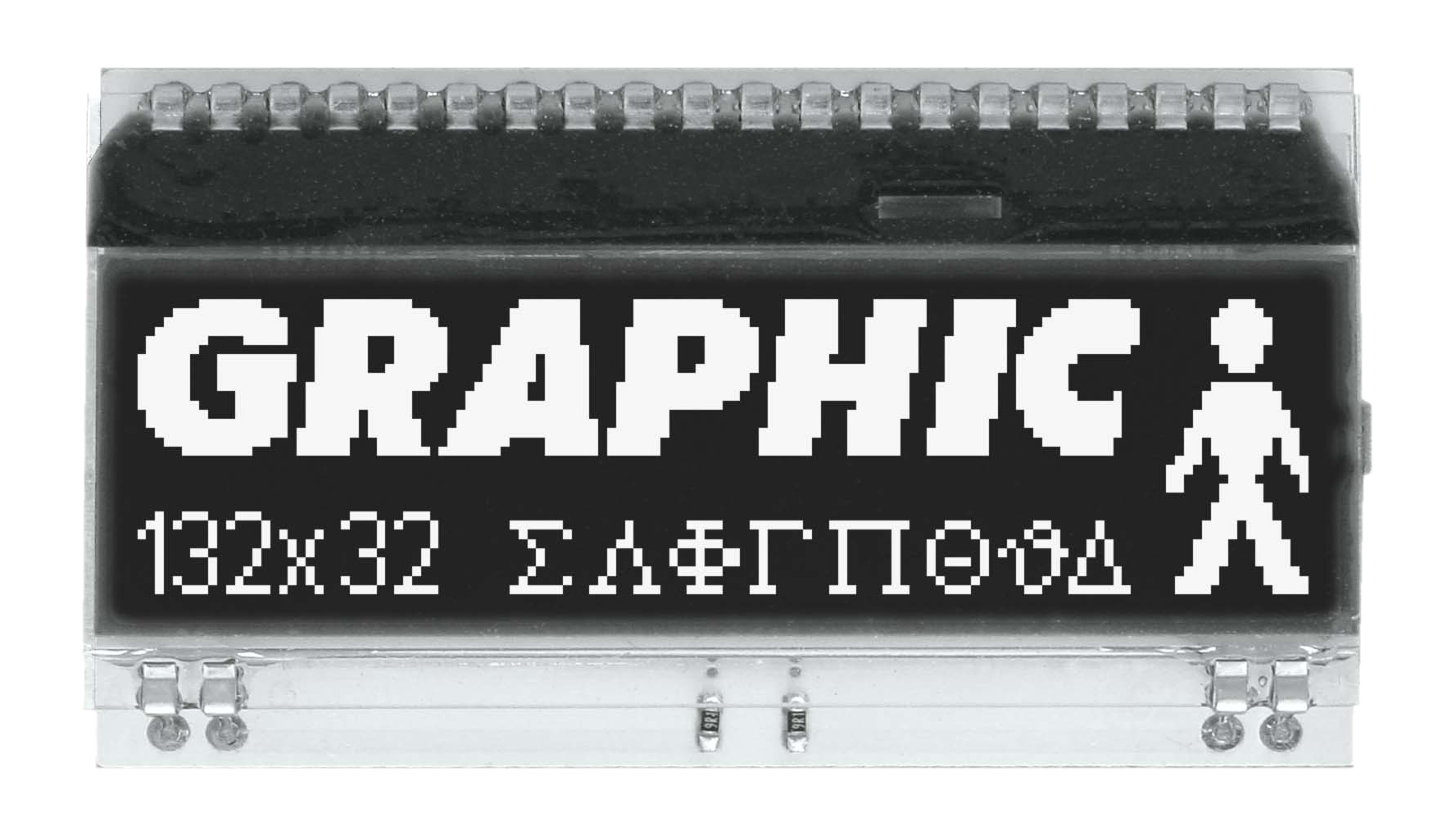 132x32 DOG Grafikdisplay, FSTN schwarz negativ